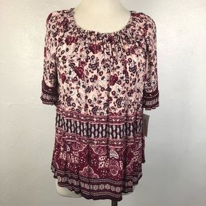 Style & Co Autumn Retreat Blouse Pink Top Sz Small